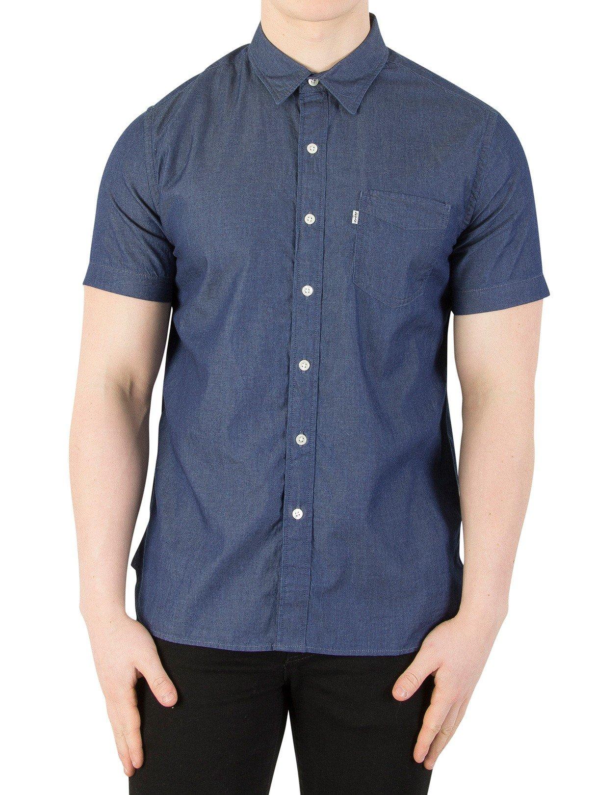 Levi's de los Hombres Camisa de Bolsillo de Manga Corta, Azul