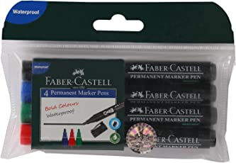 Faber-Castell Permanent Marker Pen - Pack of 4 (Assorted)