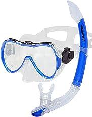 AQUAZON Hochwertiges Schnorchelset Rimini, Schnorchelbrille, Schnorchel Blau, Gelb, für Kinder, Jugendliche von 7-14 Jahren und Damen, Medium Size