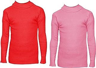 IndiWeaves Girls Wollen Warm High Neck Full Sleeves T-Shirt/Inner/Skivvy For Winter (Pack of 2)