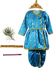 Pakhi Little Krishna Themed Krishna Costume Set with Accessories (9 - 12 Months, Turquoise Blue)