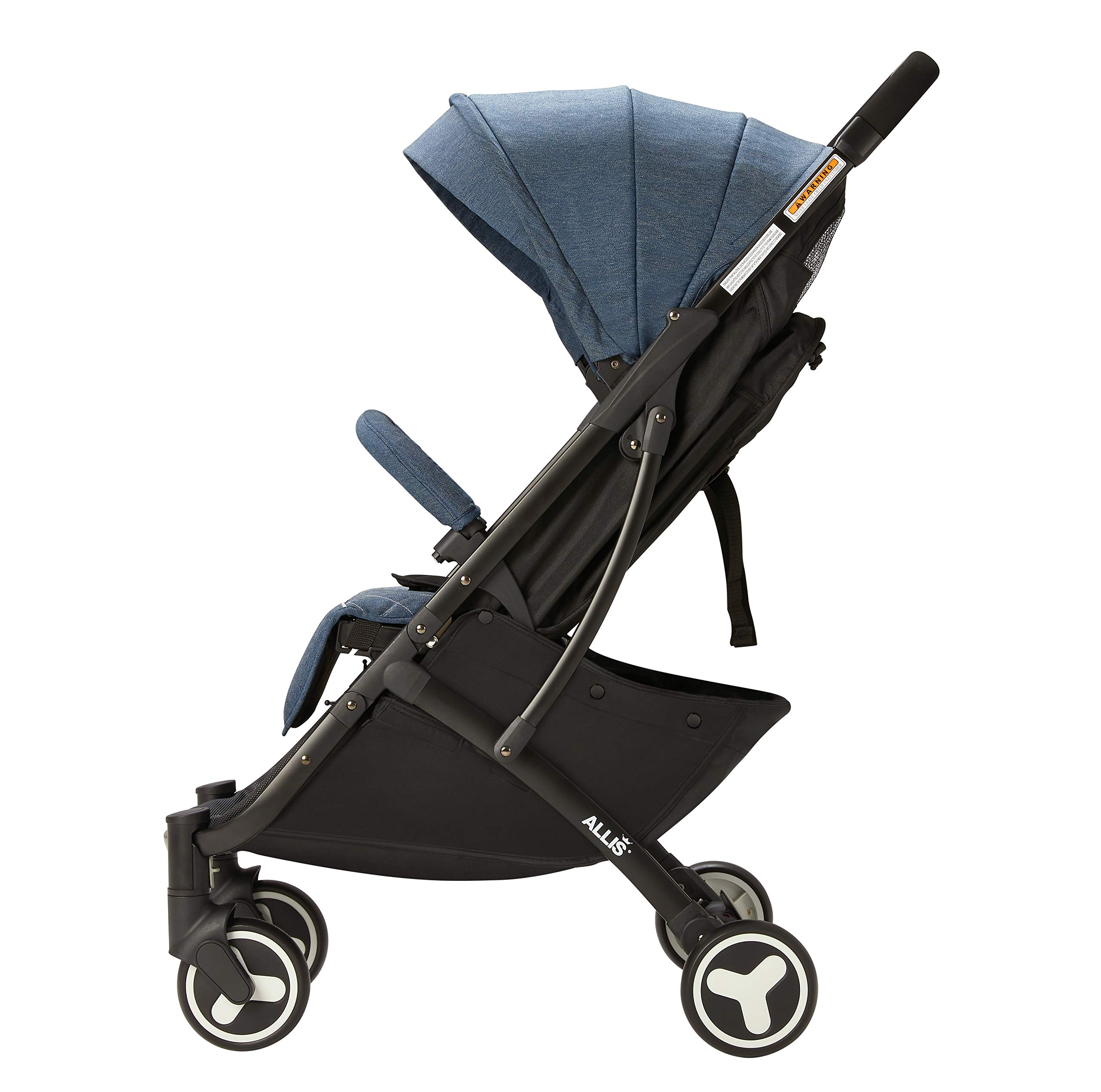 Allis Lightweight Plume Stroller Baby Buggy - Denim Allis Baby Made according to British Standard EN1888 and Fire Safety Regulations 1988. Lockable 360 swivel wheels, removable and suspension, Peek A Boo window/ Recline Seat/ Lie-flat position From 6M (Upto 15Kg Approx). Lightweight 6.7Kg only, Easy to fold with one hand only 4