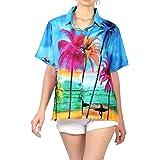 LA LEELA Women's Button Down Funky Hawaiian Beach Shirts Palm Tree Print Short Sleeves Collared Summer Tops Blue_X210 XXL