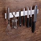 Virklyee Acier INOX Porte-Couteaux Magnétique Support magnétique pour Couteaux Porte-Couteaux Barre à Couteaux aimantée(16 in