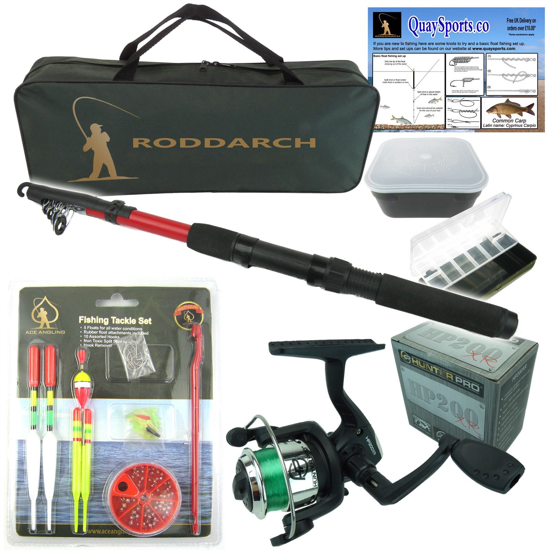 Roddarch junior beginners kids novice fishing rod reel for Fishing pole kit