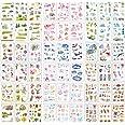54 Feuilles Scrapbooking Autocollants dans Différents Modèles Sea Animal Forme Deco Autocollant Fleurs Feuilles Autocollant p