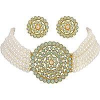 Shining Diva Fashion Latest Choker Design Traditional Stylish Fancy Pearl Necklace Jewellery Set for Women