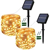 Solar String Lights Outdoor, 2 Pack 120 LED Solar Garden Lights Waterproof 12M/40Ft 8 Modes Indoor/Outdoor Fairy Lights Coppe