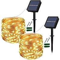 Solar String Lights Outdoor, 2 Pack 120 LED Solar Garden Lights Waterproof 12M/40Ft 8 Modes Indoor/Outdoor Fairy Lights…