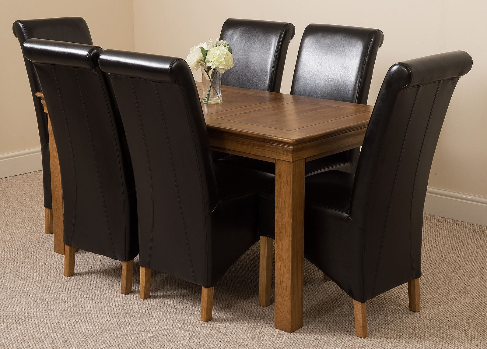 81RFAYdTwwL - French Rustic Solid Oak 150 cm Dining Table with 4 or 6 Montana Dining Chairs