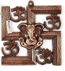 Collectible India Lord Ganesh Om Swastik Aluminium Wall Hanging Art Decor