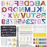314 Pezzi Stampo in Resina con Lettere, Stampi in Resina Epossidica con 48 Paillettes di Colore, Kit di Stampo in Silicone co