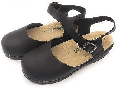 BioNatura 77 C 2071 Sandalo Chiuso Davanti Donna Laccio Caviglia Pelle Gaucho Nero
