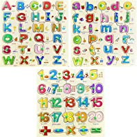 Combo of Wooden Capital & Small Alphabet Along with Number Board Puzzles, Set of 3 Wooden Board Educational Learning…