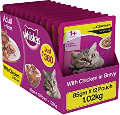Whiskas Wet Cat Food, Chicken in Gravy for Adult Cats, 85 g (Pack of 12)