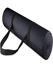 Effingo 4 mm Thick Yoga and Exercise Mat with Strap (Black)