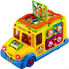Toyshine Intellectual School Bus Activity Toy Vehicle with Music, Sounds, and Lights