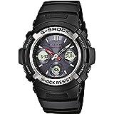 Casio G-SHOCK Orologio 20 BAR, Argento/Nero, con Ricezione Segnale Radio e Funzione Solare, Analogico - Digitale, Uomo, AWG-M