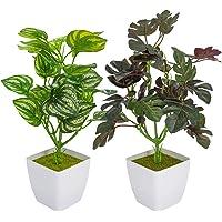 Huryfox 2 PCS Plantes Artificielles en Pot, Fausses Plantes pour la Décoration Intérieure, Romarin Artificiel Eucalyptus…