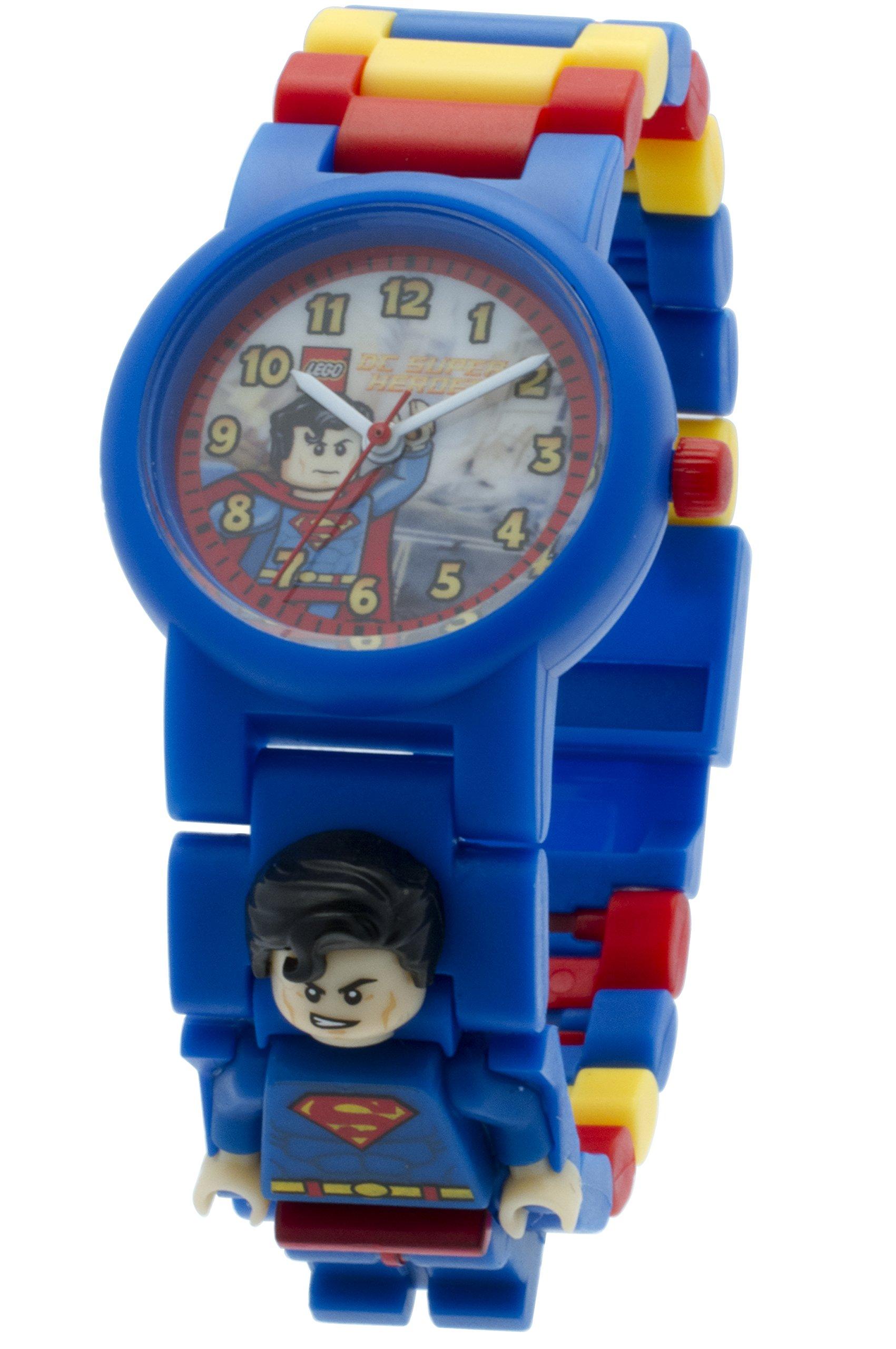 LEGO DC Comics 8020257 Super Heroes Superman Kinder-Armbanduhr mit Minifigur und Gliederarmband zum Zusammenbauen,blau/rot,Kunststoff,Gehäusedurchmesser 25mm,analoge Quarzuhr,Junge/Mädchen,,offiziell