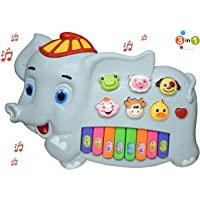 Henicx - Premium Quality Elephant Type Musical Toys Keyboard Piano for Kids ,Toddler Boys and Girls with Light ,Sound and Animal Shapes Musical Instrument - Musical Toys for Babies (Grey)