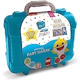 Multiprint Valigetta Travel Set Baby Shark, Made in Italy, Album da Colorare, con Puzzle e Matite, Set Timbrini Bimbi, in Leg