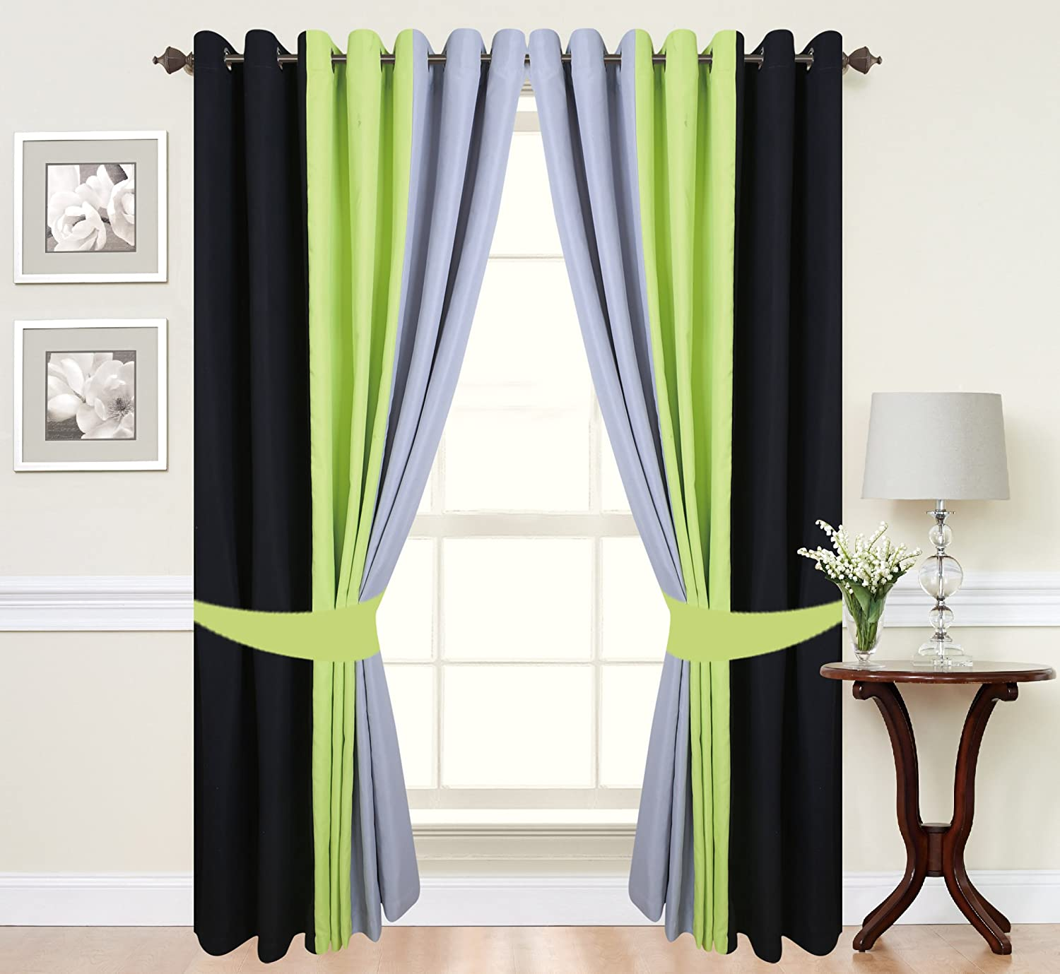 Pair Of Tone Fully Lined Ring Top Eyelet Curtains In Lime Green