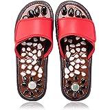 BYRIVER Acupressure Foot Massager Jade Stone Acupoint Massage Slippers Shoes Reflexology Sandals for Men Women (Red 25)