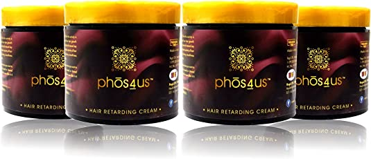 phos4us - Hair Retarding Cream (Pack of 4) with extracts of Apple, Kiwi and Grapefruit (Hair Minimizer and Vanishing Cream) After Waxing and Post Threading Cream (Natural Unwanted Hair Retarder) 4x100gm