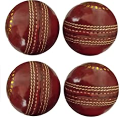 Tima Hightop Leather Cricket Ball Red (Pack of 4 Balls)