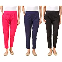 Q-rious Women's Slim Fit Chinos (Pack of 3)