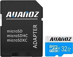 Micro SD Karte 32 GB, Auanoz Micro SDHC Klasse 10 UHS-I High Speed Speicherkarte Für Telefon, Tablet Und PC - Mit Adapter (Blau-32gb)