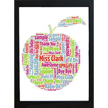 Upk gifts personalised teacher gift word art with free frame apple upk gifts personalised teacher gift word art with free frame apple print unique gift thank you negle Images