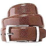 Vincenzo Boretti Cintura uomo in pelle con fibbia ad ardiglione argento, pelle lucida, logo di metallo
