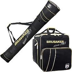 Brubaker Kombi Set Grenoble - Skisack und Skischuhtasche für 1 Paar Ski + Stöcke + Schuhe + Helm - Schwarz Gold