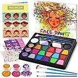 lenbest 17 Colores Pinturas Cara, Pintura Facial con 1 Libro Tutorial de Pintura Facial, 256 Pegatinas de Diamantes de Imitac