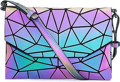 LOVEVOOK Geometrischer Messenger Bag, Holographic Damen Umhängetasche Schultertasche, Leuchtende Reflective Frauen Crossbody Tasche Clutch Abendtasche mit Verstellbaren Schulterriemen, PU Leder
