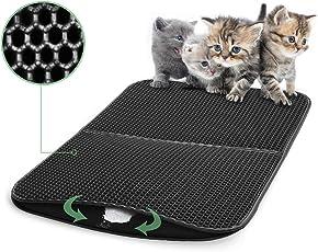 Funpet Katzenklo Matte, 75 x 56 cm Cat Litters Matte Wasserdicht Faltbar Bienenwabe Doppelte Schichte Entwurf für Katze und Katzentoilette