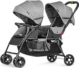 Besrey Geschwisterwagen Zwillingsbuggy Zwillingskinderwagen Doppel kinderwagen für 2 Kinder - grau