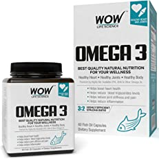 Wow Omega-3 Fish Oil 1000 mg Triple Strength 550 mg EPA 350 mg - 60 Capsules