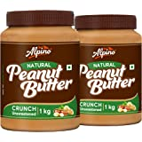 Alpino Natural Peanut Butter Crunch 2 KG | Unsweetened | Made With 100% Roasted Peanuts | No Added Sugar | No Added Salt…