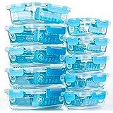 CREST Lot de 10 Récipient en Verre - 1040 ML + 370 ML Boîtes Alimentaires - Contenants de Stockage de Repas en Verre, sans BP