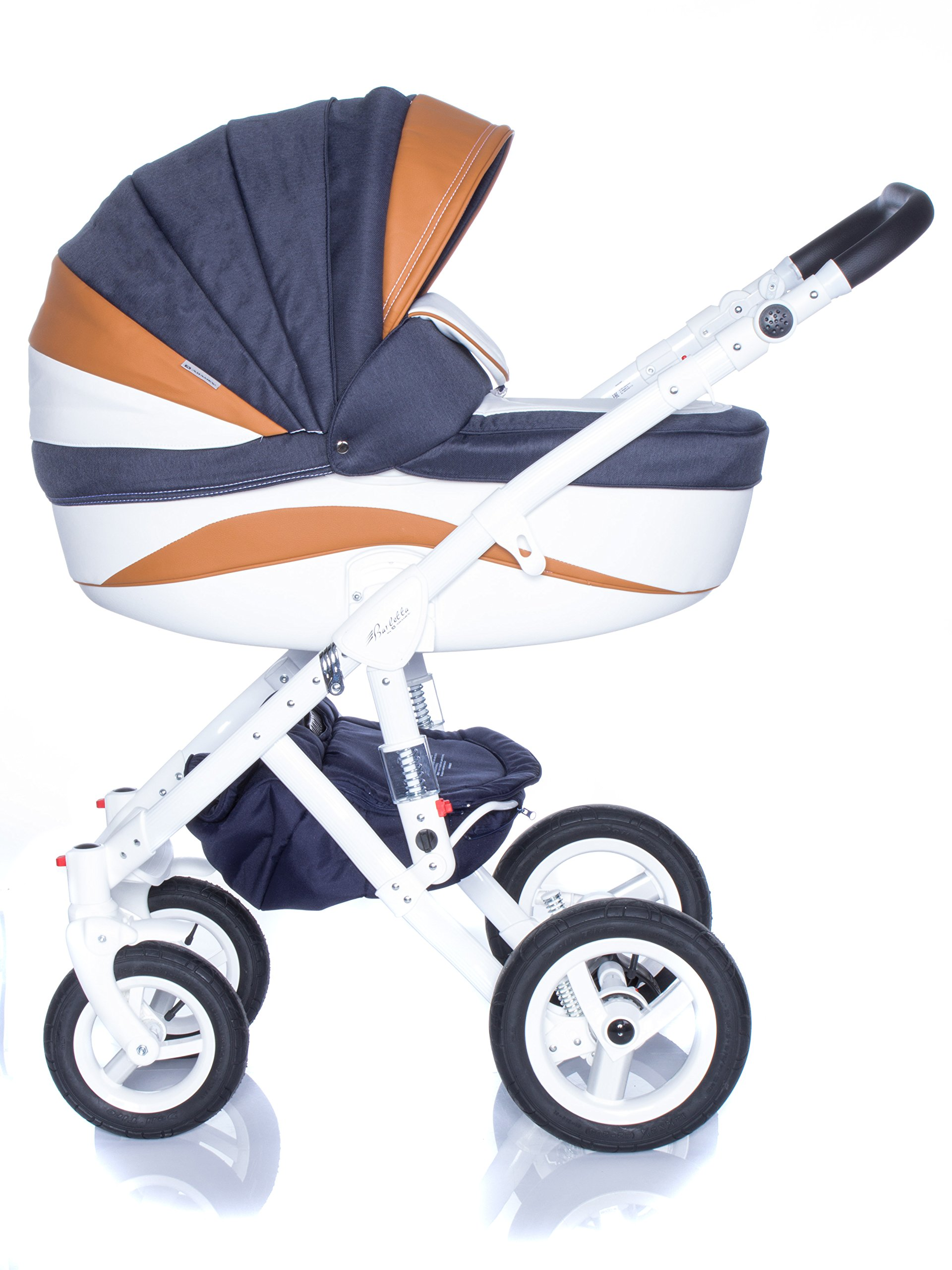 Baby Pram Pushchair Stroller Buggy, Travel System Adamex Barletta New B7 Fox-Navy-White 2in1 + ADAPTORS for CAR Seats: Maxi-COSI CYBEX KIDDY Be Safe Adamex Lockable swivel wheels and lockable side suspension system Light alluminium chassis with polyurethane wheels 2 separate modules + car seats adapters - big and deep baby tub functional sport seat and car seats adapters that can be attached to the following car seats: Maxi-Cosi: City, Cabrio fix, Pebble Cybex: Aton Kiddy: Evoluna i-Size, Evolution Pro 2 Be Safe: iZi Go 1