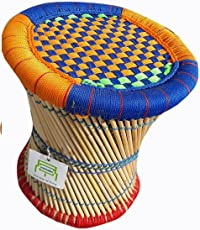 Ecowoodies Campsis Indoor Outdoor HandiCraft Living Room and Garden Sitting Bar Pub Resorts Kitchen Cane Bamboo Stool, (Multicolour)