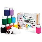 Krevo Art Pintura textil resistente al lavado | Juego de 12 x 20 ml de colores para tela en frasco | para pintar diferentes t