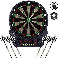 YUEBO Elektronische Dartscheibe, E Dartboards Dartautomat mit 6 Dartpfeile, Ersatzsspitzen, 27 Spielen und 243 Varianten für 16 Spieler