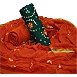 Bandhani dress material for women in reddish-orange and green color
