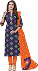 Miraan Women's Cotton Unstitched Dress Material(SAN8003_Blue_Free Size)