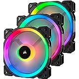 Corsair LL120 RGB, Ventilateur de Boitier Dual Light Loop RGB LED PWM 120mm avec Lighting Node et Hub (Triple Pack)