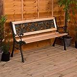 Home Discount Garden Vida Garden Bench, Rose Style Design 3 Seater Outdoor Furniture Seating Wooden Slats Cast Iron Legs…